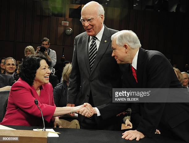 US Sen Jeff Sessions RAL and Sen Patrick Leahy DVT greet US Supreme Court nominee Sonia Sotomayor on July 16 2009 before the start of the fourth day...