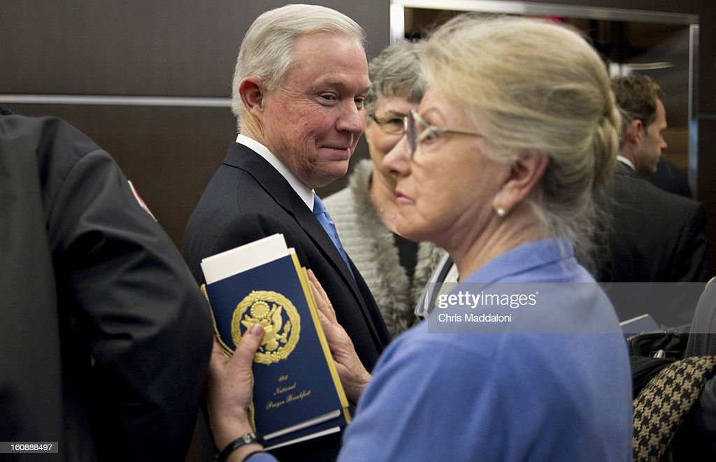 Sen. Jeff Sessions, R-Ala., is greeted by Mary Springsteed, from Charlotte, N.C. She said she was a 'fan of his work,' and wanted to said hello. Photo By Chris Maddaloni/CQ Roll Call)