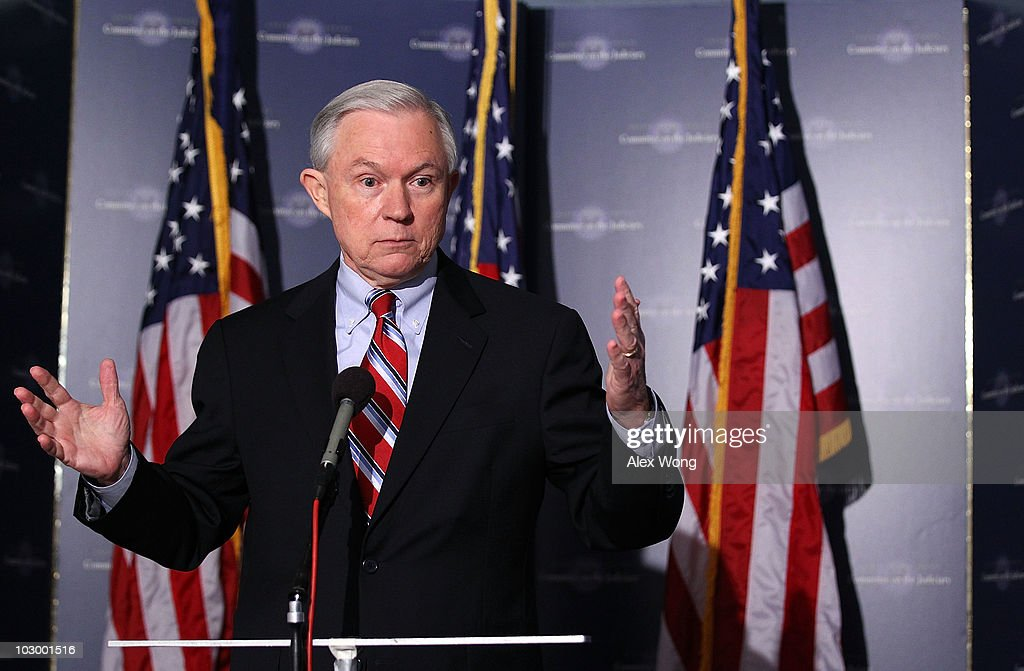 U.S. Sen. <a gi-track='captionPersonalityLinkClicked' href=/galleries/search?phrase=Jeff+Sessions&family=editorial&specificpeople=534346 ng-click='$event.stopPropagation()'>Jeff Sessions</a> (R-AL) speaks to the media after the Senate Judiciary Committee voted on the Kagan confirmation during a markup hearing July 20, 2010 on Capitol Hill in Washington, DC. The committee has voted 13-6, in favor of President Obama�s nomination of Elena Kagan to become an Associate Justice of the Supreme Court of the United States, to replace Justice John Paul Stevens who has retired on June 29, 2010.