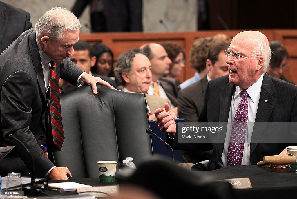 Sen. Jeff Sessions (R-AL) (L), speaks with Committee Chairman Sen. Patrick Leahy (D-VT) (R), at a Senate Judiciary Committee business meeting on Capitol Hill, July 13, 2010 in Washington, DC. The committee has delayed the vote on Elena Kagan's nomination to the U.S. Supreme Court until next week at Sessions' request.