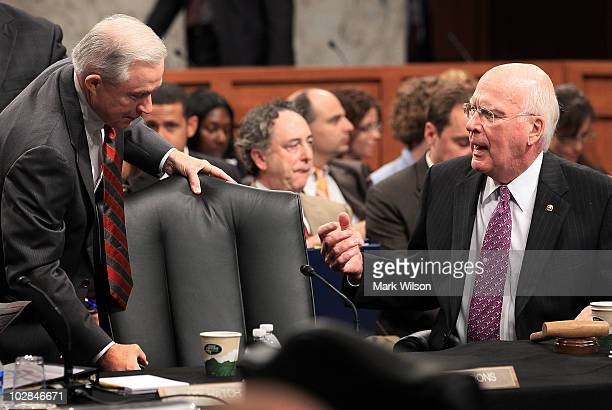 Sen Jeff Sessions speaks with Committee Chairman Sen Patrick Leahy at a Senate Judiciary Committee business meeting on Capitol Hill July 13 2010 in...