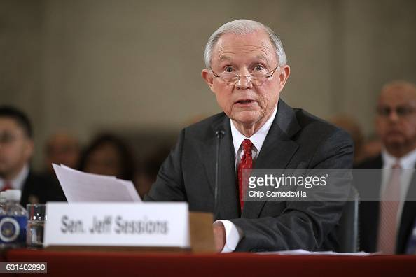 Sen Jeff Sessions testifies before the Senate Judiciary Committee during his confirmation hearing to be the US Attorney General January 10 2017 in...