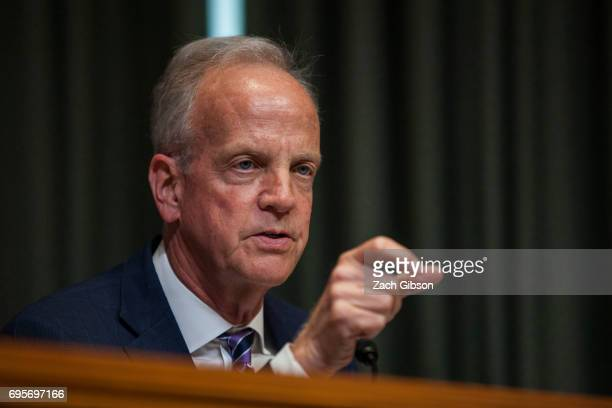 Sen Jerry Moran speaks during a State Foreign Operations and Related Programs Subcommittee hearing on the State Department's FY2018 Budget on Capitol...
