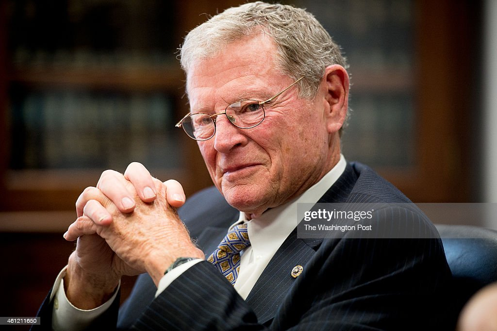 Sen. <a gi-track='captionPersonalityLinkClicked' href=/galleries/search?phrase=Jim+Inhofe&family=editorial&specificpeople=534276 ng-click='$event.stopPropagation()'>Jim Inhofe</a> (R-Okla.) holds a press roundtable on Capitol Hill on January 7, 2015 in Washington, DC. Inhofe is expected to soon be named chair of the Senate Environment and Public Works Committee.