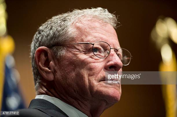 Sen Jim Inhofe ROkla holds a press conference on Tuesday June 23 2015 to introduce a sixyear highway reauthorization bill titled the Developing a...