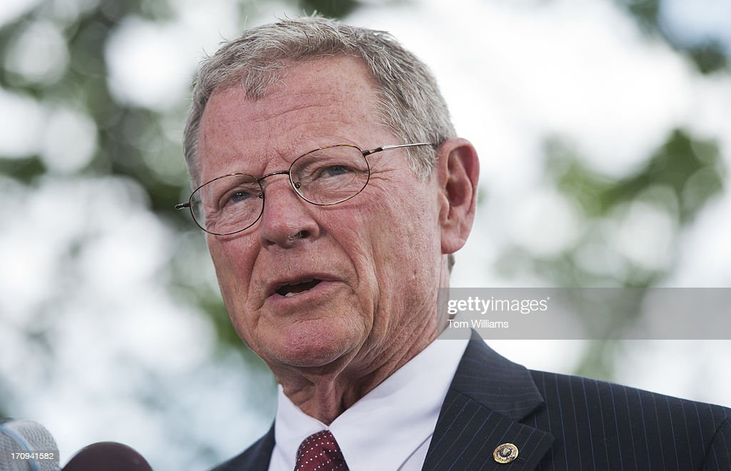 Sen. Jim Inhofe, R-Okla., speaks at a news conference outside of the Capitol to oppose the immigration reform bill in the Senate.
