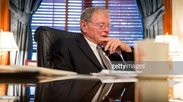Sen Jim Inhofe speaks during a telephone conference with reporters in his office on Capitol Hill on January 7 2015 in Washington DC Inhofe is...