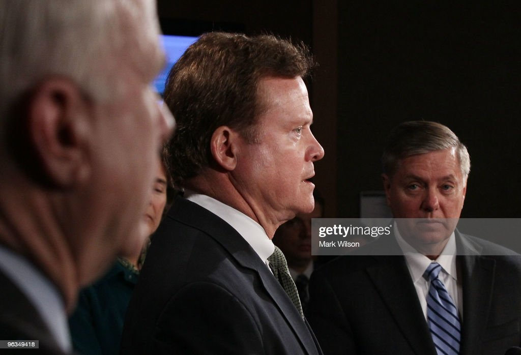 Sen. <a gi-track='captionPersonalityLinkClicked' href=/galleries/search?phrase=Jim+Webb&family=editorial&specificpeople=3986302 ng-click='$event.stopPropagation()'>Jim Webb</a> (D-VA) (C), Sen. <a gi-track='captionPersonalityLinkClicked' href=/galleries/search?phrase=Lindsey+Graham&family=editorial&specificpeople=240214 ng-click='$event.stopPropagation()'>Lindsey Graham</a> (R-SC) (R) and Sen. <a gi-track='captionPersonalityLinkClicked' href=/galleries/search?phrase=John+McCain&family=editorial&specificpeople=125177 ng-click='$event.stopPropagation()'>John McCain</a> (R-AZ)(L) participate in news conference on Capitol Hill on February 2, 2010 in Washington, DC. Sen. <a gi-track='captionPersonalityLinkClicked' href=/galleries/search?phrase=Lindsey+Graham&family=editorial&specificpeople=240214 ng-click='$event.stopPropagation()'>Lindsey Graham</a> and others introduced legislation to cut off funding for the trials of the alleged 9/11 conspirators in civilian court and said any trials should be conducted by military commissions.