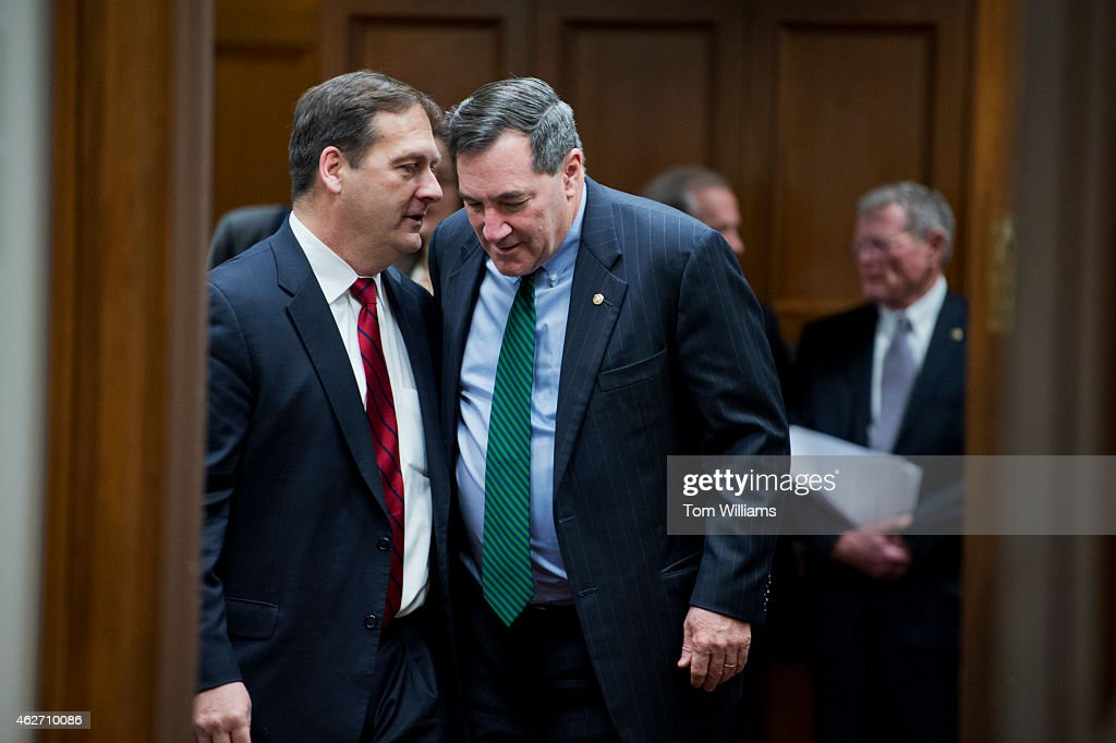 Sen. <a gi-track='captionPersonalityLinkClicked' href=/galleries/search?phrase=Joe+Donnelly&family=editorial&specificpeople=3269744 ng-click='$event.stopPropagation()'>Joe Donnelly</a>, D-Ind., right, and former Rep. Chris Carney, D-Pa., talk before a Senate Armed Services Committee hearing in Dirksen Building titled the 'Findings of the Military Compensation and Retirement Modernization Commission,' February 3, 2015.