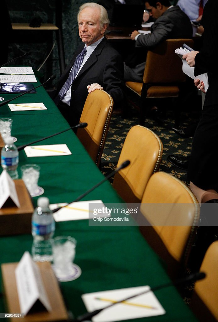 Sen Joe Lieberman waits for fellow witnesses before testifying to the Senate Budget Committee Capitol Hill November 10 2009 in Washington DC...