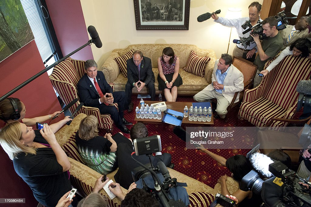 Sen. Joe Manchin, D-WVA., meets with Newtown families of the Sandy Hook shooting victims in his office in the Hart Senate Office Building and talks about the gun legislation on June 12, 2013.