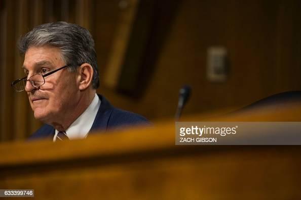 Sen Joe Manchin is pictured during a hearing to Senate Veterans' Affairs hearing to to examine David Shulkin's nomination to be Secretary of...