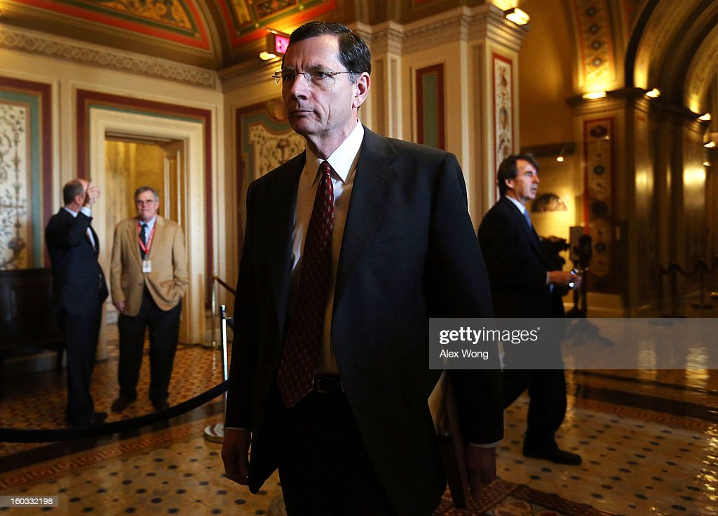U.S. Sen. John Barrasso (R-WY) arrives at a mark up hearing before Senate Foreign Relations Committee to vote on the nomination of Sen. John Kerry (D-MA) to be secretary of State January 29, 2013 on Capitol Hill in Washington, DC. The Senate panel has approved the nomination and it is expected the full Senate will pick up the vote today to confirm the nomination to succeed Hillary Clinton.