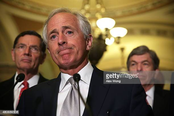 US Sen John Barrasso Sen Bob Corker and Sen Roy Blunt speak to members of the media after the weekly Republican Policy Luncheon July 14 2015 on...