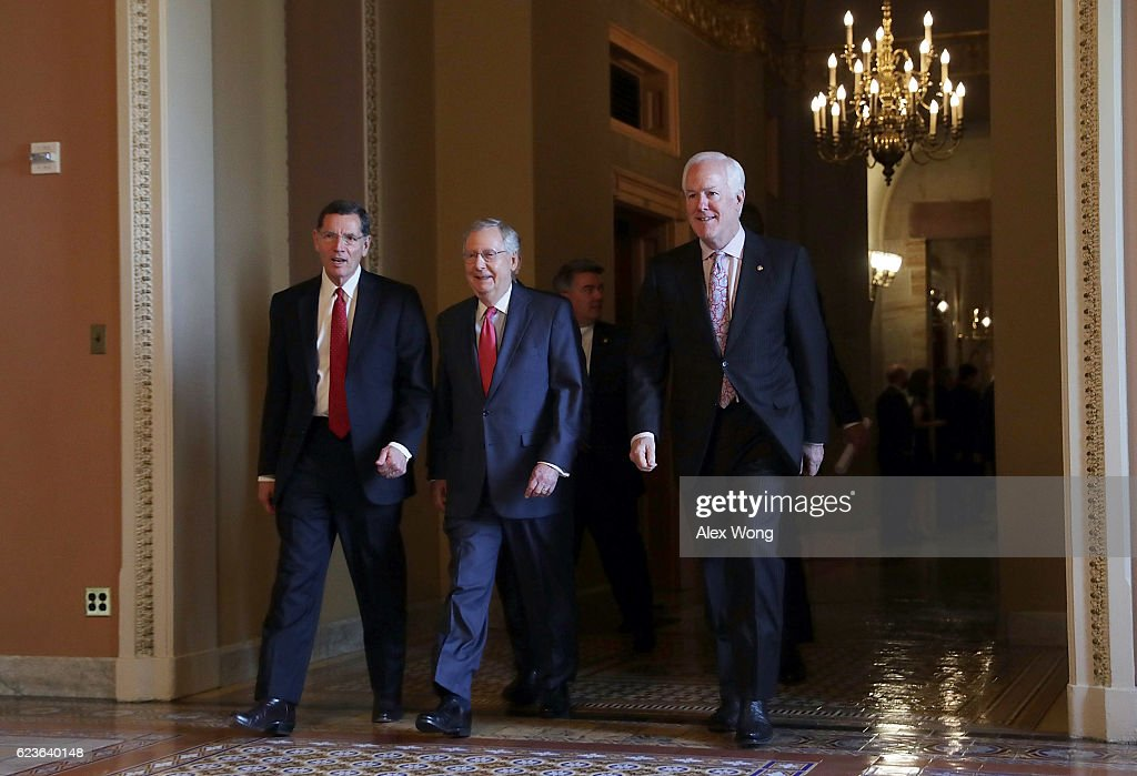 U.S. Sen. John Barrasso (R-WY), Senate Majority Leader Sen. Mitch McConnell (R-KY) and Senate Majority Whip John Cornyn (R-TX) leave after an election meeting of Senate Republicans at the Capitol November 16, 2016 in Washington, DC. Senate GOPs are scheduled to elect new leadership at the meeting.