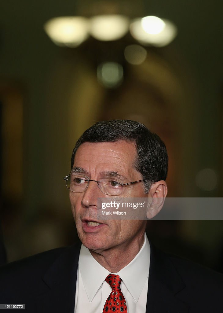 Sen. <a gi-track='captionPersonalityLinkClicked' href=/galleries/search?phrase=John+Barrasso&family=editorial&specificpeople=5312607 ng-click='$event.stopPropagation()'>John Barrasso</a> (R-WY) speaks during a news conference on Capitol Hill, June 24, 2014 in Washington, DC. Senate GOP leaders spoke to the media shortly after their weekly GOP policy luncheon.