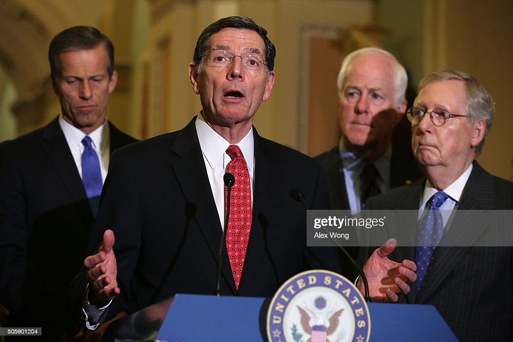 U.S. Sen. John Barrasso (R-WY) (2nd L) speaks to members of the media as (L-R) Sen. John Thune (R-SD), Senate Majority Whip John Cornyn (R-TX) and Senate Majority Leader Mitch McConnell (R-KY) listen after the Republican weekly policy luncheon January 20, 2016 on Capitol Hill in Washington, DC. Senate GOPs held its weekly luncheon meeting to discuss Republican agenda.
