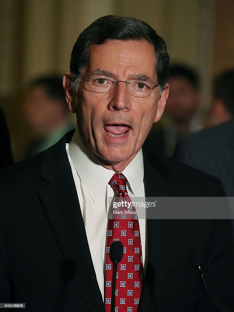 Sen. John Barrasso (R-WY), speaks to reporters on Capitol Hill, June 28, 2016 in Washington, DC. The Senate lawmakers addressed the press affter their weekly policy luncheons.