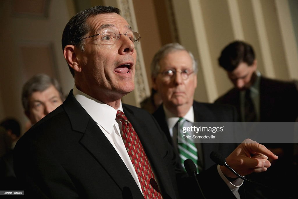 Sen. John Barrasso (R-WY) talks to reporters about a sex trafficking bill that has stalled in the Senate following the weekly Senate Republican policy luncheon at the U.S. Capitol March 17, 2015 in Washington, DC. Senate Majority Leader Mitch McConnell (R-KY) said he will not move on to a vote to confirm Loretta Lynch, the nominee to replace Attorney General Eric H. Holder, until the Senate votes on the sex trafficking bill.