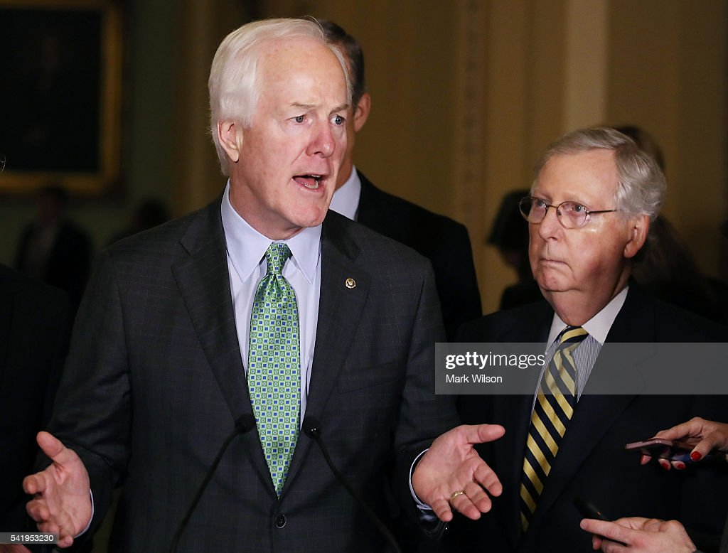 Sen. John Cornyn (R-TX), (L), and Senate Majority Leader Mitch McConnell (R-KY), speak to reporters after their weekly policy luncheon on Capitol Hill, June 21, 2016 in Washington, DC. Cornyn's Senate gun control proposal was one of four voted down Monday.
