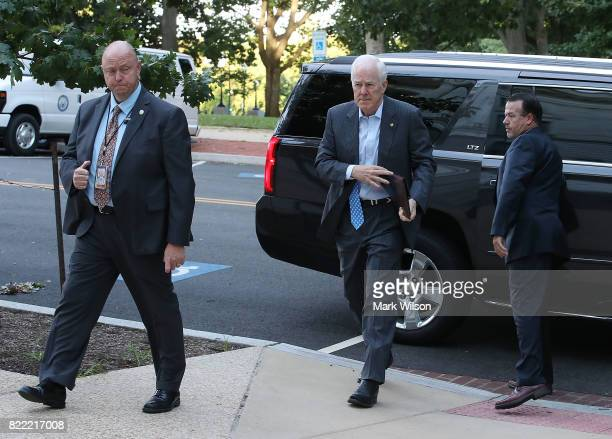 Sen John Cornyn arrives for work on Capitol Hill July 25 2017 in Washington DC Later today Senate Majority Leader Mitch McConnell will find out if he...