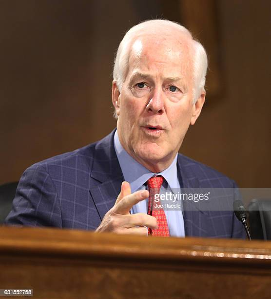 Sen John Cornyn asks a question during the confirmation hearing for US Presidentelect Donald Trump's nominee for the director of the CIA RepÊMike...