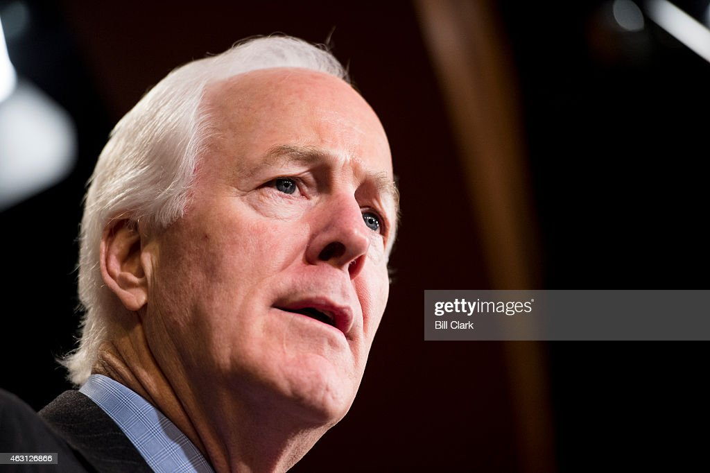 Sen John Cornyn RTexas speaks during the news conference to announce plans to introduce bipartisan legislation to reform the nation's prison system...
