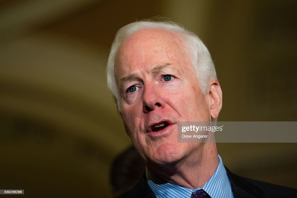 Sen John Cornyn speaks to reporters during a news conference after their weekly policy meeting with Senate Republicans at the US Capitol May 10 in...