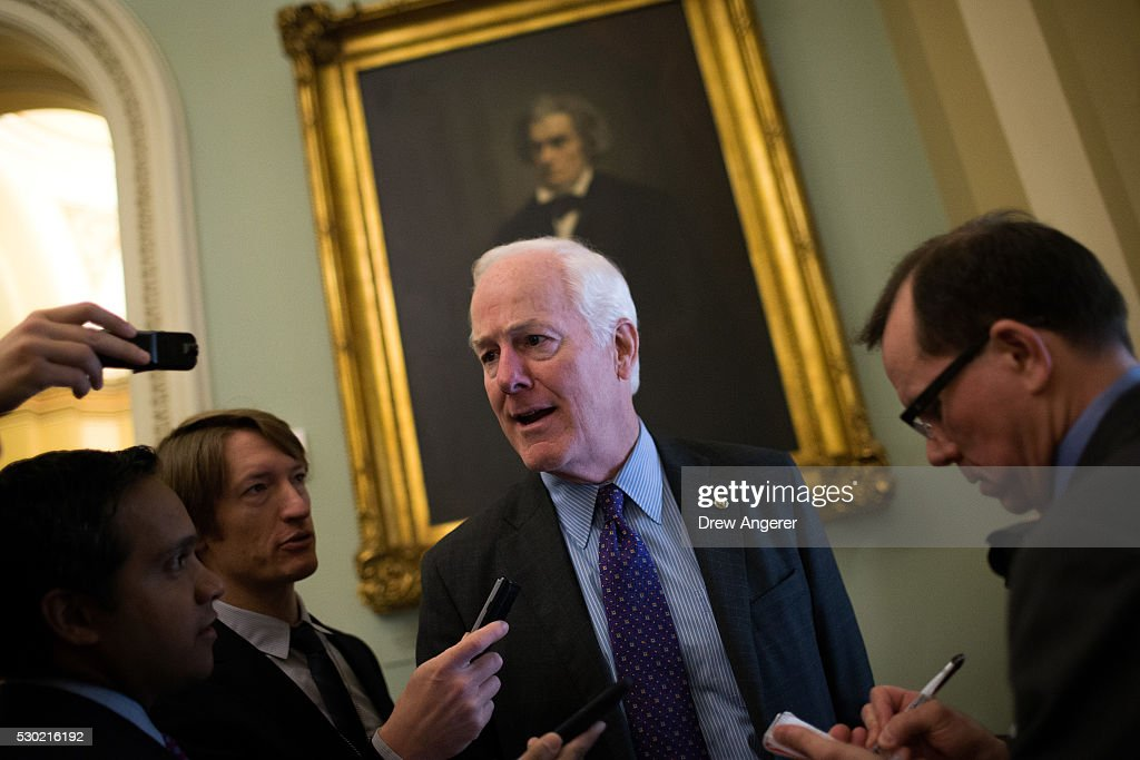 Sen John Cornyn speaks with reporters before a weekly policy meeting with Senate Republicans at the US Capitol May 10 in Washington DC Presidential...