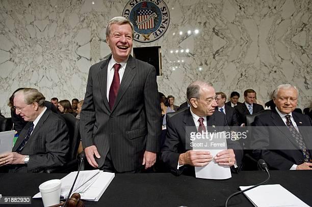 Sen John D Rockefeller IV DWVa Chairman Max Baucus DMont ranking member Charles E Grassley RIowa and Sen Orrin G Hatch RUtah before the Senate...
