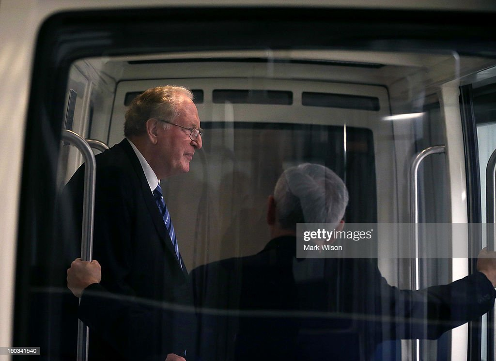 U.S. Sen. John D. Rockefeller (D-WV) (L) rides the Senate subway with Sen. <a gi-track='captionPersonalityLinkClicked' href=/galleries/search?phrase=Jack+Reed+-+Politician&family=editorial&specificpeople=534274 ng-click='$event.stopPropagation()'>Jack Reed</a> (D-RI) at the U.S. Capitol January 29, 2013 in Washington, DC. Senator Rockefeller announced earlier this month that he will retire from the Senate at the end of his term.