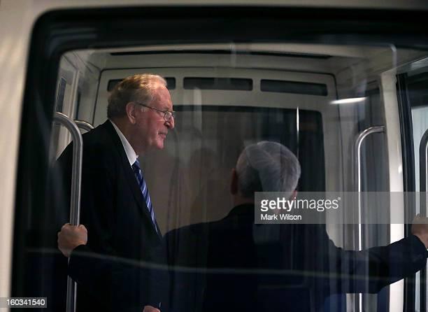 S Sen John D Rockefeller rides the Senate subway with Sen Jack Reed at the US Capitol January 29 2013 in Washington DC Senator Rockefeller announced...