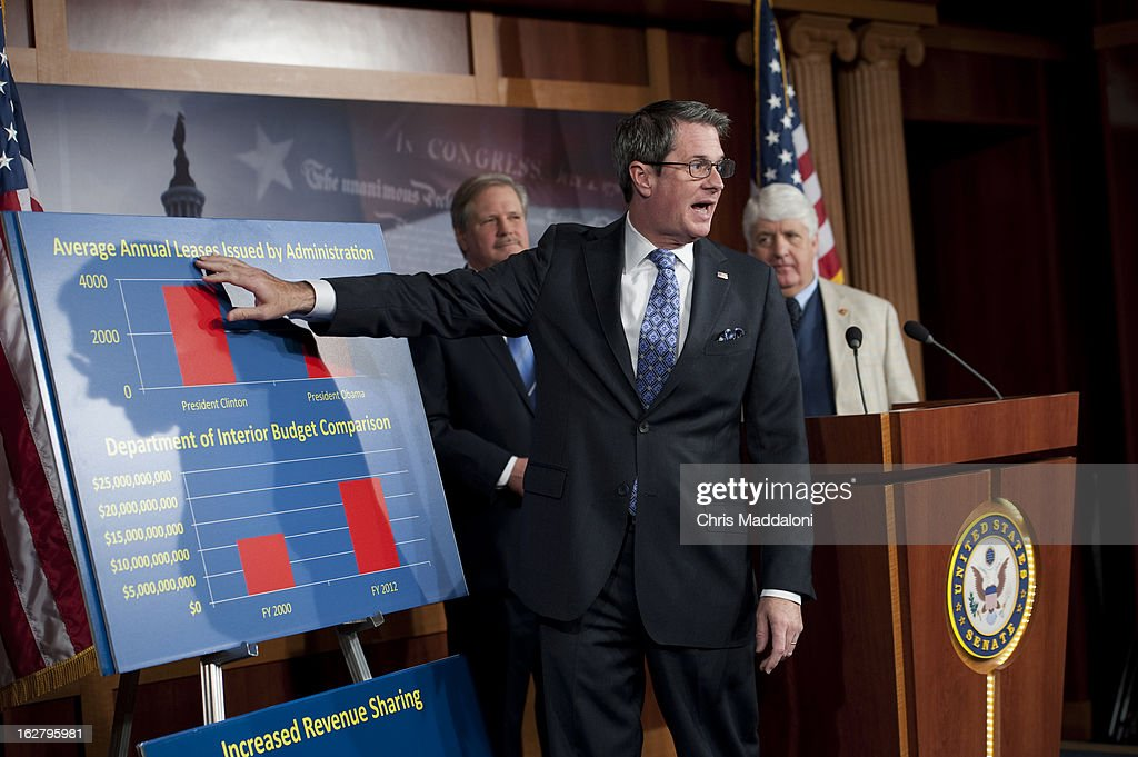 Sen. John Hoeven, R-N.D.; Sen. David Vitter, R-La.; and Rep. Rob Bishop, R-Utah, speak at a press conference about legislation to improve the economy, the 'Energy Production and Project Delivery Act of 2013.'