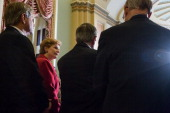 Sen John Hoeven Sen Debbie Stabenow chair of the Senate Agriculture Committee Sen Mike Johanns and Sen Pat Roberts appear at a news conferece on...