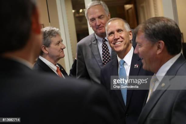 Sen John Kennedy Sen Luther Strange Sen Thom Tillis Sen Mike Rounds and other Republican senators prepare for a news conference to call on Senate...