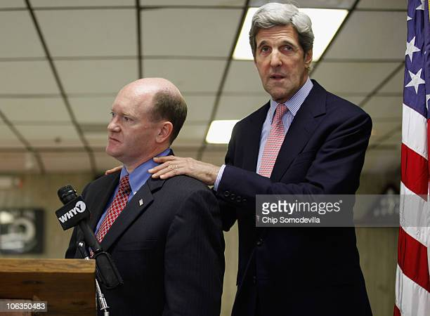 S Sen John Kerry campaigns for Delaware Democratic Senate nominee Chris Coons at the Veterans of Foreign Wars Post 475 October 29 2010 in Newark...