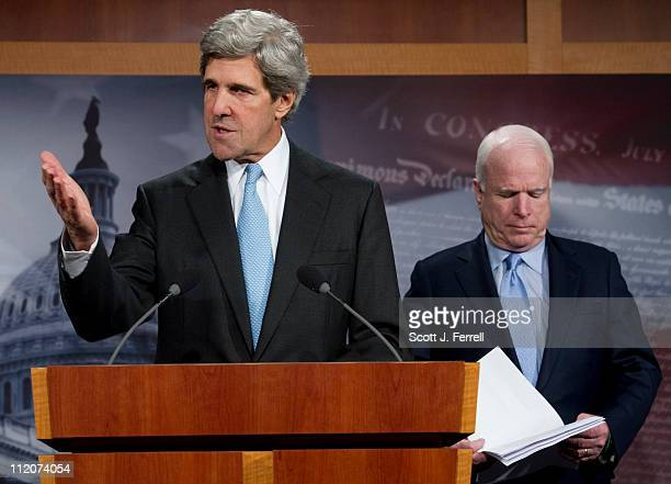 Sen John Kerry DMass and Sen John McCain RAriz during a news conference introducing their bill The Commercial Privacy Bill of Rights Act of 2011...