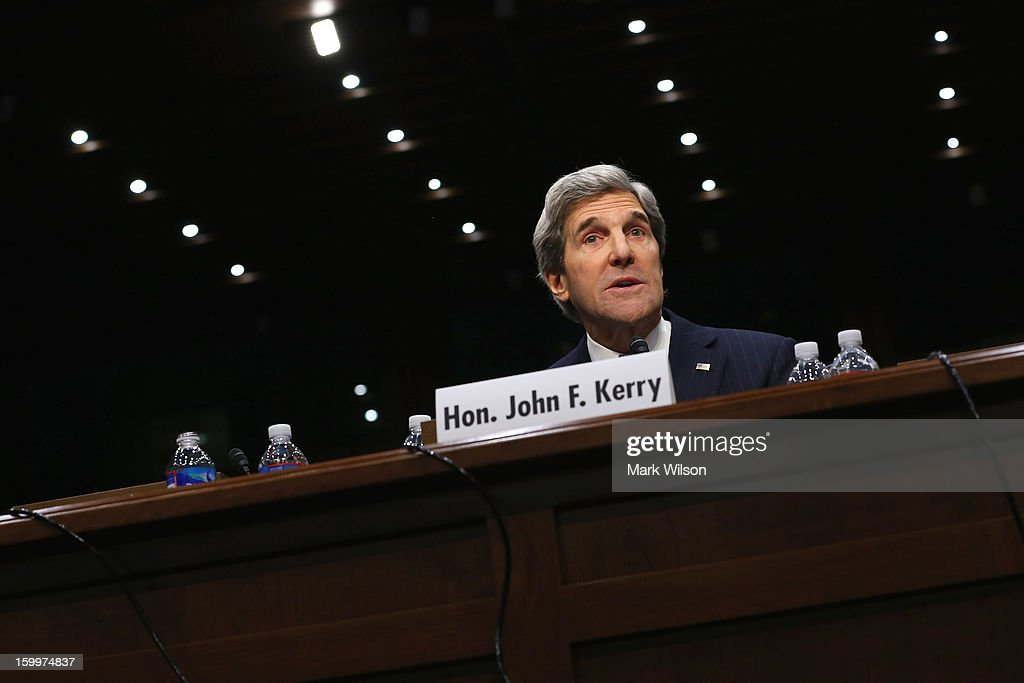 Sen. John Kerry (D-MA) gives an opening statement during his confirmation hearing before the Senate Foreign Relations Committee to become the next Secretary of State in the Hart Senate Office Building on Capitol Hill January 24, 2013 in Washington, DC. Nominated by President Barack Obama to succeed Hillary Clinton as Secretary of State, Kerry has served on this committee for 28 years and has been chairman for four of those years.