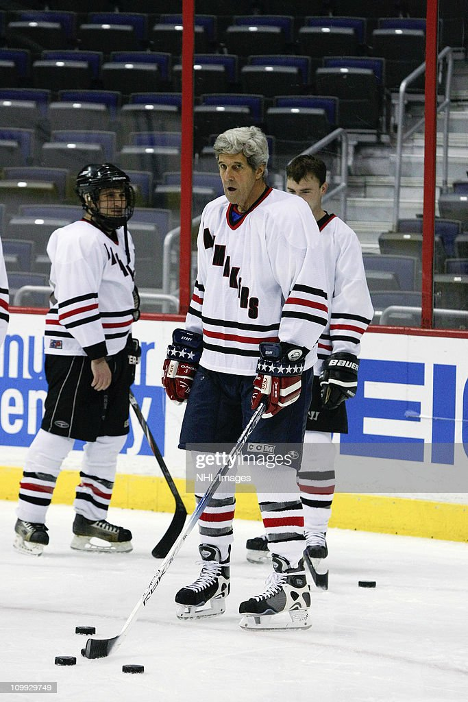 Sen. John Kerry (D-MA) plays in the Congressional Hockey Challenge charity game to benefit Fort Dupont Ice Hockey Club at the Verizon Center on March 10, 2011 in Washington, DC.