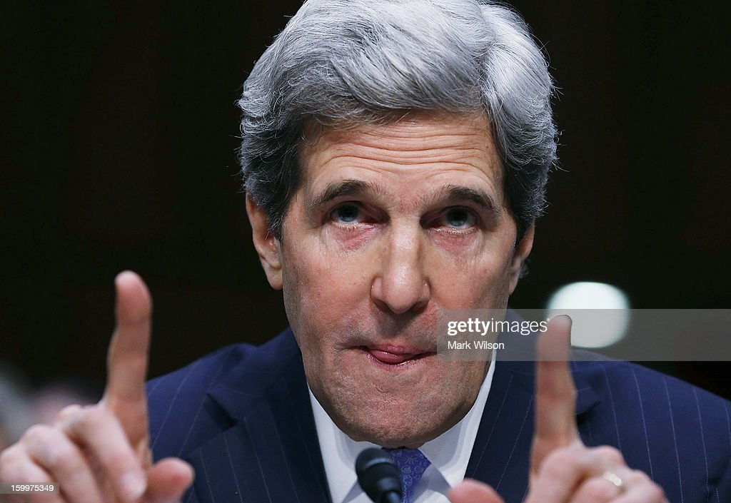 U.S. Sen. <a gi-track='captionPersonalityLinkClicked' href=/galleries/search?phrase=John+Kerry&family=editorial&specificpeople=154885 ng-click='$event.stopPropagation()'>John Kerry</a> (D-MA) speaks during his Senate Foreign Relations Committee confirmation hearing, on Capitol Hill, January 24, 2013 in Washington, DC. If confirmed by the U.S. Senate, Senator Kerry will replace outgoing Secretary Hillary Clinton as Secretary of State.