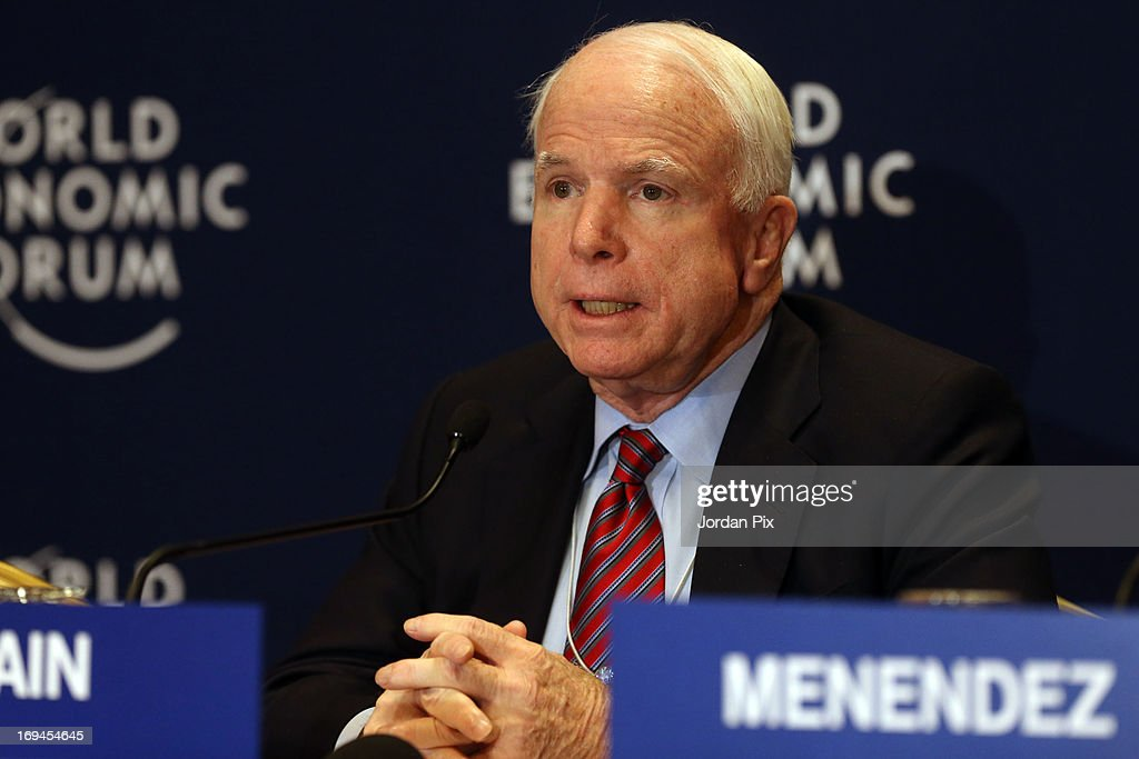 U.S. Sen. <a gi-track='captionPersonalityLinkClicked' href=/galleries/search?phrase=John+McCain&family=editorial&specificpeople=125177 ng-click='$event.stopPropagation()'>John McCain</a> (R-AZ) addresses the World Economic Forum on the Middle East and North Africa 2013 on May 25, 2013, in Dead Sea, Jordan. The forum runs May 24-26 and is being participated by 23 countries, under the theme of 'Advancing Conditions for Growth and Resilience.'