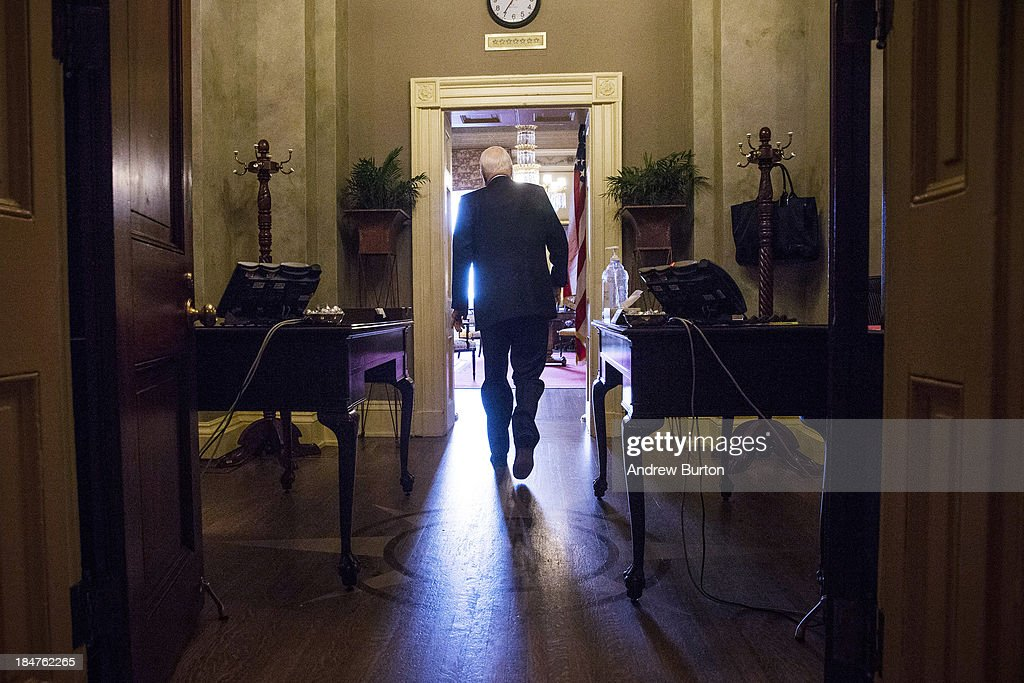 S Sen John McCain arrives at Senate Minority Leader Mitch McConnell's office for a meeting on October 16 2013 in Washington DC Today marks the...