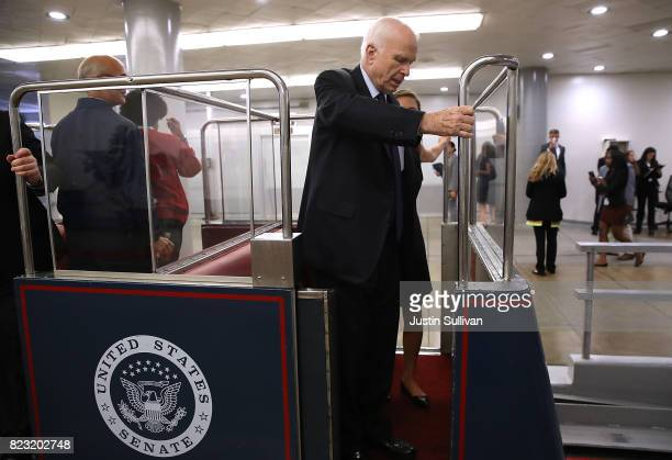 S Sen John McCain gets off of the US Senate subway the US Capitol on July 26 2017 in Washington DC The US Senate will continue debate on the Better...