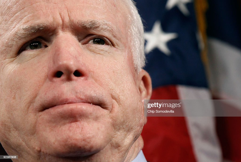 Sen John McCain hold a news conference to announce the introduction of 'The Post9/11 Troops to Teachers Enhancement Act' at the US Capitol October 27...