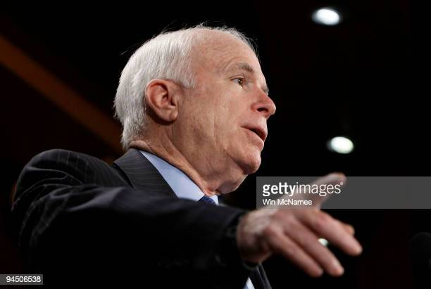 Sen John McCain holds a press conference with Sen Maria Cantwell on Capitol Hill December 16 2009 in Washington DC McCain and Cantwell spoke on their...