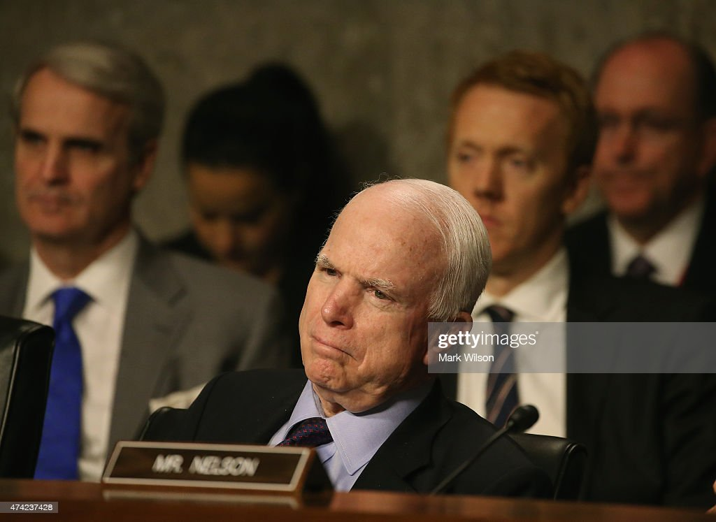 U.S. Sen. <a gi-track='captionPersonalityLinkClicked' href=/galleries/search?phrase=John+McCain&family=editorial&specificpeople=125177 ng-click='$event.stopPropagation()'>John McCain</a> (R-AZ) listens to testimony during a Senate Armed Services Committee hearing on Capitol Hill May 21, 2015 in Washington, DC. The committee was hearing testimony on the United States policy in Iraq and Syria.