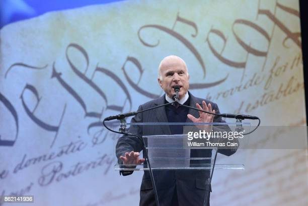 Sen John McCain makes remarks after receiving the the 2017 Liberty Medal from former Vice President Joe Biden at the National Constitution Center on...