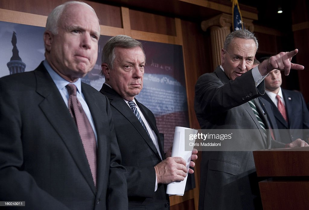 Sen. John McCain, R-Ariz.; Sen. Charles Schumer, D-N.Y.; Sen. Dick Durbin, D-Ill.; and Sen. Marco Rubio, R-Fl.; speak a news conference to announce bi-partisan agreement on the principals on a comprehensive immigration reform bill.