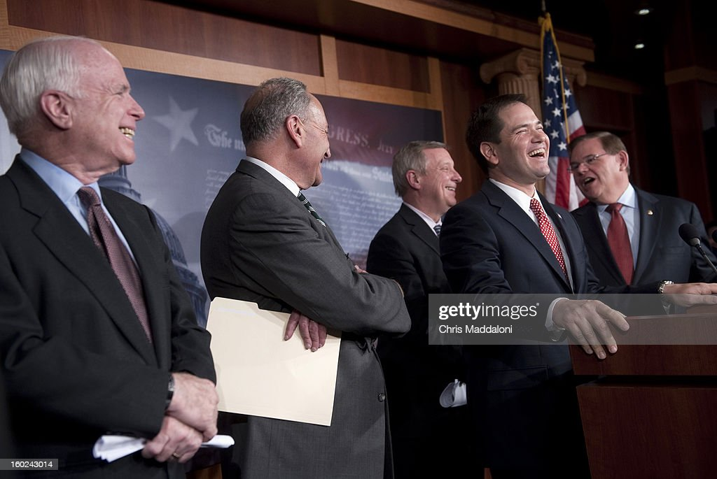 Sen. John McCain, R-Ariz.; Sen. Charles Schumer, D-N.Y.; Sen. Dick Durbin, D-Ill.; Sen. Marco Rubio, R-Fl.; and Sen. Robert Menendez, D-N.J., laugh at a news conference to announce bi-partisan agreement on the principals on a comprehensive immigration reform bill.