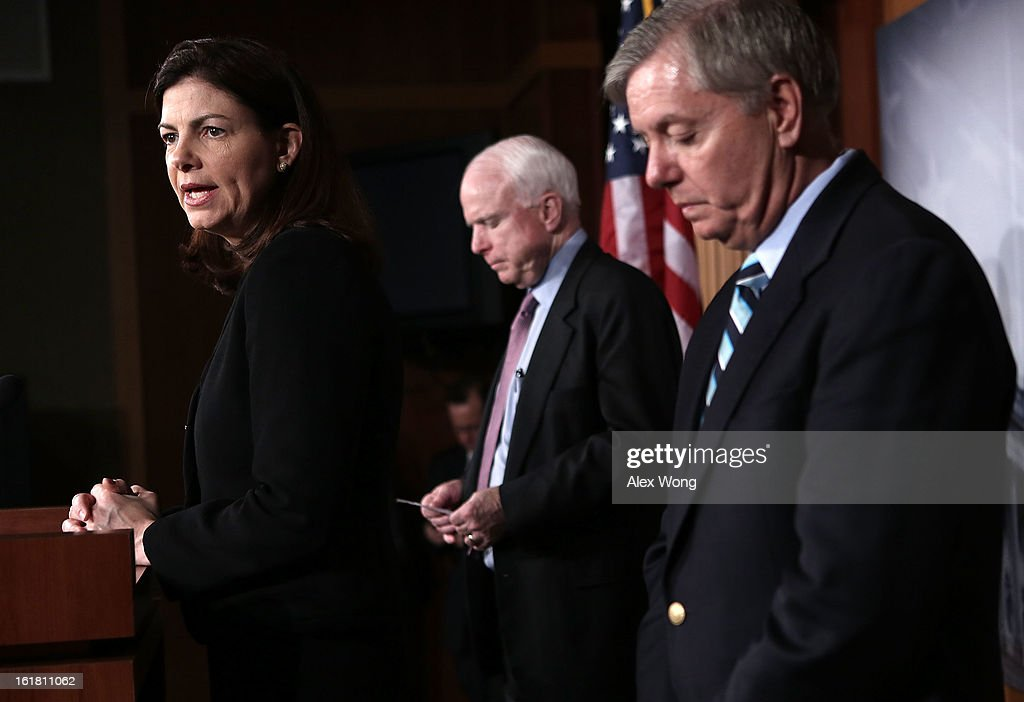 U.S. Sen. John McCain (R-AZ) (C), Sen. Lindsey Graham (R-SC) (R) and Sen. Kelly Ayotte (R-NH) (L) speak to the press during a news conference on the terror attack that killed four Americans in Benghazi February 14, 2013 on Capitol Hill in Washington, DC. The senators questioned why the Obama Administration did not seek enough help from the Libya government during the attack.